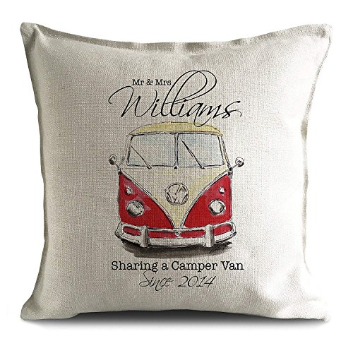 Dozili Mr and Mrs Personalised Vintage VW Camper Van Cushion Cover Gift Valentines Day Wedding for Him Her Wife Husband
