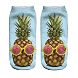 3D Print Pineapple Socks Women Casual Socks Unisex Low Cut Ankle Socks