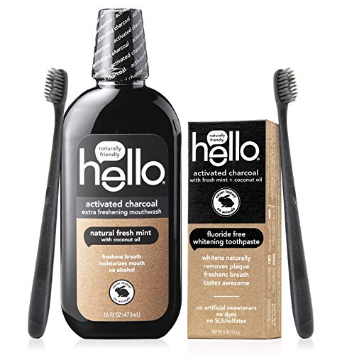 Hello Oral Care Activated Charcoal Fluoride Free and SLS Free Whitening Toothpaste Starter Kit with Extra Freshening Mouthwash and 2 Charcoal Bristle BPA-Free Toothbrushes