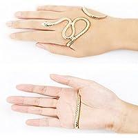 Ransopakul Dress Gothic Snake Crystal Hand Palm Bracelet Punk Bangle Cuff Ring Jewelry