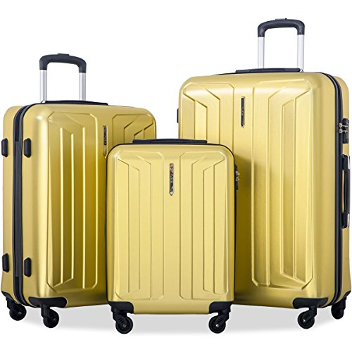 Flieks 3 Piece Hardside Spinner Luggage Set with TSA Lock