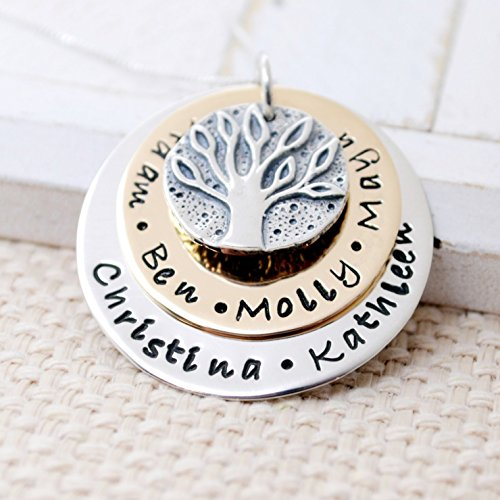 Custom Gold Filled and Sterling Silver Family Tree Necklace, Mother's Day Necklace, Grandma Gift by Love It Personalized
