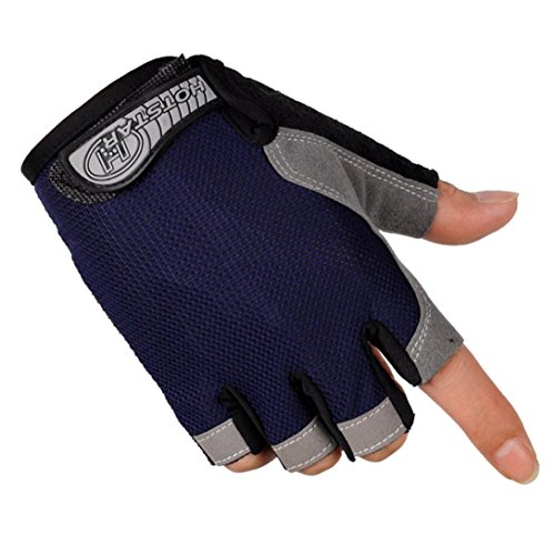 ABC 2016 New Sports Bicycle Cycling Biking Gel Half Finger Fingerless Gloves (M, Navy) (Lady In The Navy Gloves)