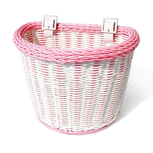 Colorbasket 02201 Front Handle Bar Junior Bike Basket, Water Resistant, Leather Straps, White with Pink Trim