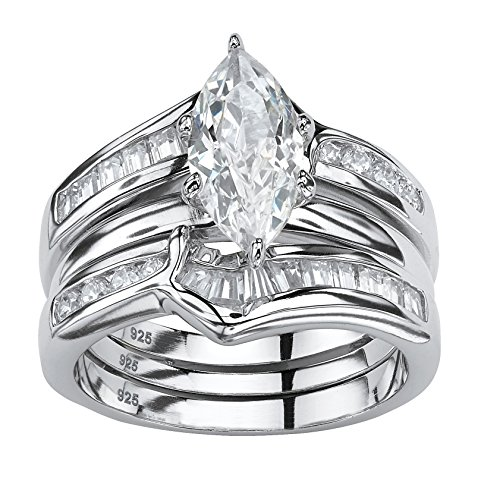 Sterling Silver Marquise Cut Cubic Zirconia 2 Piece Jacket Bridal Ring Set