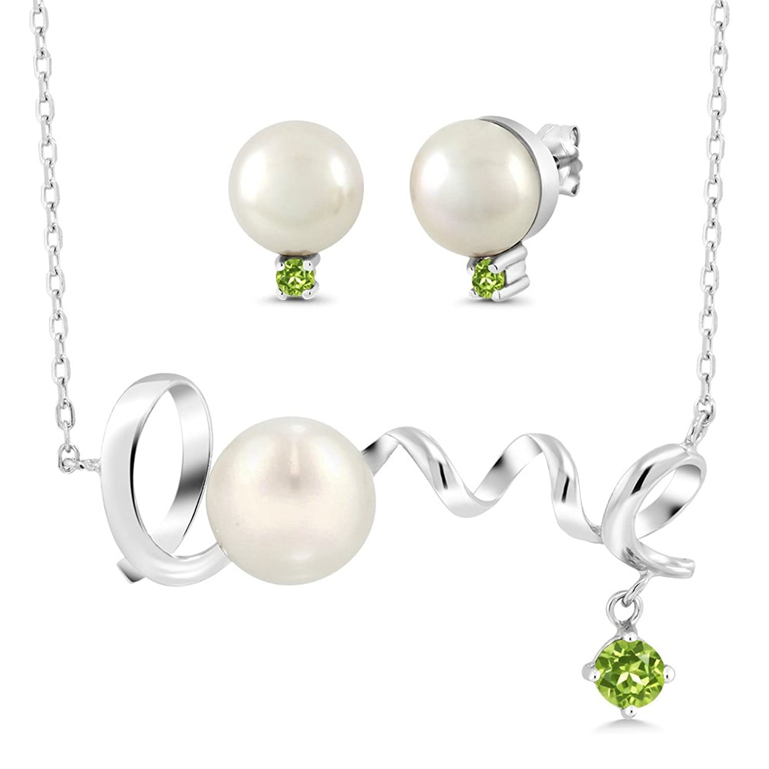 0.59 Ct Round Green Peridot 925 Sterling Silver Pearl Pendant Earrings Set