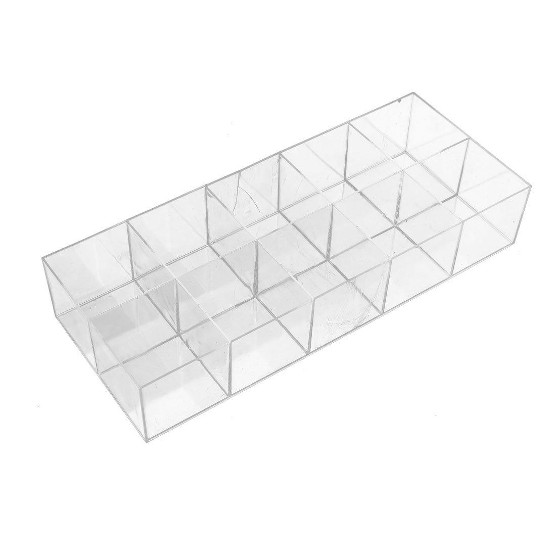 uxcell 310mmx128mmx59mm 10 Slots Component Storage Organizer Case DIY Tool Clear