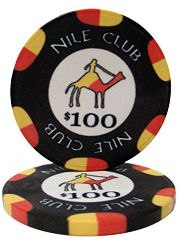 - 25 $100 Nile Club 10 Gram Ceramic Casino Quality Poker Chips