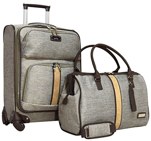 Nicole Miller Cameron Collection 2-Piece Carry On Luggage Set: 20' Expandable Spinner and Satchel Bag (Tan)