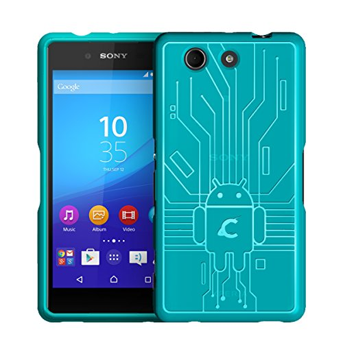 Z4 Compact Case, Cruzerlite Bugdroid Circuit TPU Case Compatible with Sony Xperia Z4 Compact (Mini) - Teal