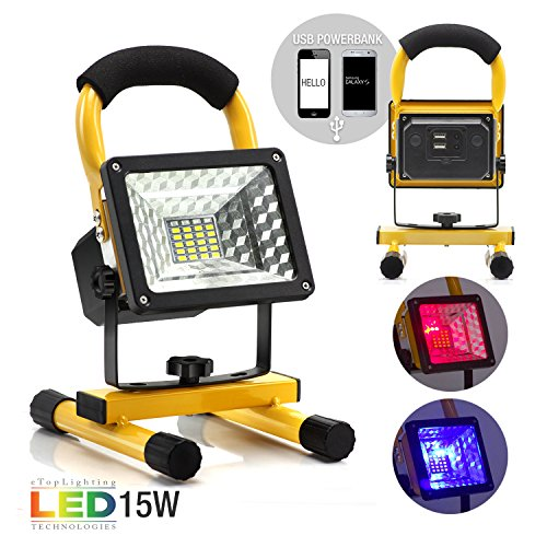 eTopLighting 15W Portable LED Flood Spot Light with Rechargeable Battery and Built-in Power Bank for Outdoor Activities, Work Light, Camping Lights, Emergency Light, Outdoor Lantern, APL1832 by eTopLighting