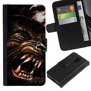 iKiki Tech / Cartera Funda Carcasa - Wolf Angry Dog Red Eyes Art Face Teeth Muzzle - Samsung Galaxy S5 V SM-G900