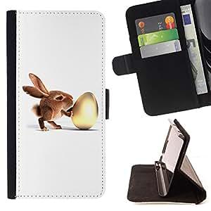 - Bunny & Egg - - Prima caja de la PU billetera de cuero con ranuras para tarjetas, efectivo desmontable correa para l Funny HouseFOR HTC Desire 820