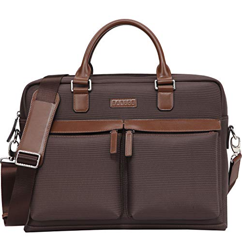 Banuce Large Capacity Waterproof Nylon Faux Leather 15.6 inch Laptop Messenger Bag for Men Business Briefcase Tote Tablet Computer Bag Shoulder Attache Case Brown ()