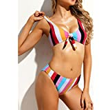 Ancapell Women's Stripes Two Piece Bikini Set Sexy Knot Front Swimsuit for Women (Multicolored Striped, Large)