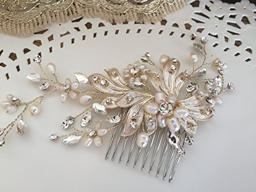 Bridal Hair Comb with Fresh Water Pearls Gold Plated-Champagne color Wedding Hair Comb,wedding Hair accesories,pearl Bridal Comb,Crystal Wedding Comb,bridal hair piece