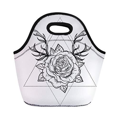 Semtomn Neoprene Lunch Tote Bag Rose Flower Deer Antlers Blackwork Tattoo Flash White Mystic Reusable Cooler Bags Insulated Thermal Picnic Handbag for Travel,School,Outdoors,Work