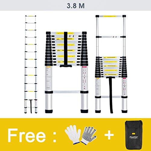 Finether 3.8M Aluminum Telescopic/Telescoping Loft Extension Ladder