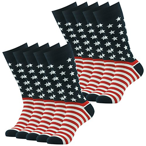 American Flag Socks Valentine's Day Gift Socks Men, SUTTOS 10 Pairs Mens Groom Wedding Dress Socks Crazy Party Fun Socks Bulk Red Black Cotton Patriotic Fashionable Patterned Dress Boot Crew - Friday For Black Men