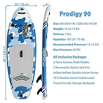 THURSO SURF Prodigy Junior Kids Inflatable SUP Stand Up Paddle Board 7 6 x 30 x 4 Two Layer Includes Adjustable Carbon Shaft Paddle 3 Fins Leash Pump Backpack