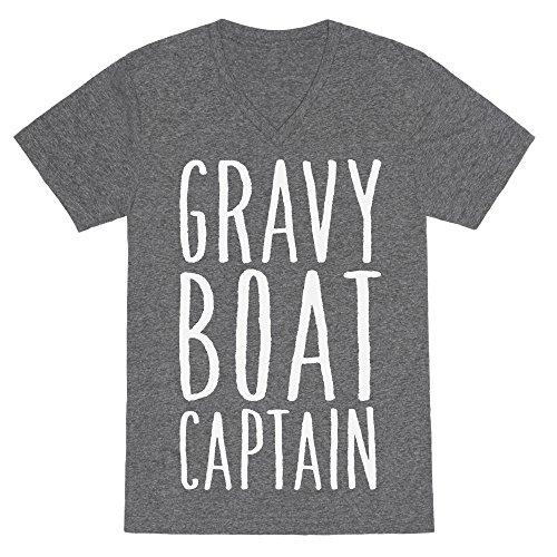 Gray Boat Gravy (LookHUMAN Gravy Boat Captain Heathered Gray Large Mens/Unisex V-Neck Triblend Tee by)