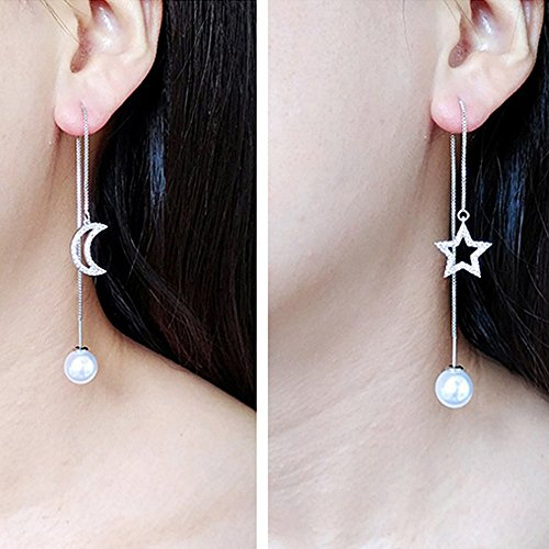 A&C Fashion Korean Version Chic Rhinestone Star and Bead Ear Line for Women. Unique Handmade Earrings Jewelry for Girl. (Silver Color)