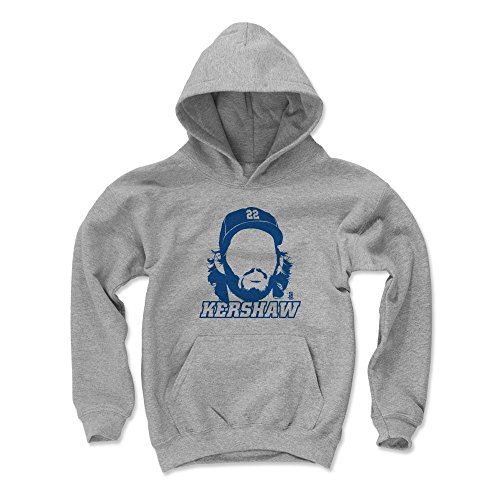 500 LEVEL Clayton Kershaw Los Angeles Baseball Youth Sweatshirt (Kids X-Large, Gray) - Clayton Kershaw Silhouette B