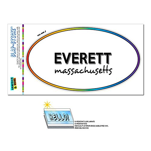 Graphics and More Rainbow Euro Oval Window Laminated Sticker Massachusetts MA City State Eas - Lun - (City Of Everett Ma)
