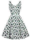 FTVOGUE Womens 1950 Vintage Dresses Cut Out Retro Floral Pattern Print Fancy Cactus Cocktail Party Elastic Dress(M)