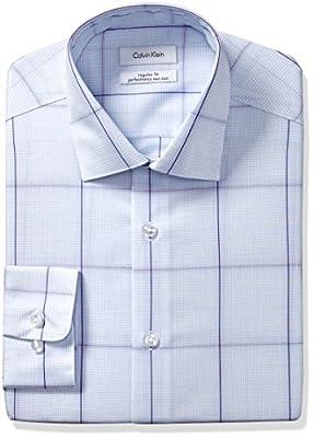 Calvin Klein Men's Non Iron Regular Fit Exploded Check Spread Collar Dress Shirt