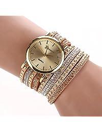 changeshopping(TM)Women Crystal Rivet Bracelet Braided Winding Wrap Watch (Khaki)