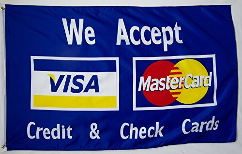 We Accept Visa MasterCard Credit & Check Cards Flag 3' X 5' Deluxe Indoor Outdoor Business Sign Banner