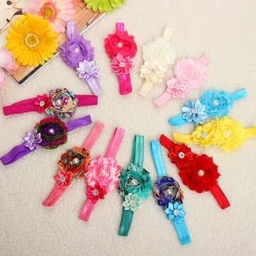 Kid Girl Baby Flower Jewels Chiffon Headband Bownot Hair Accessory