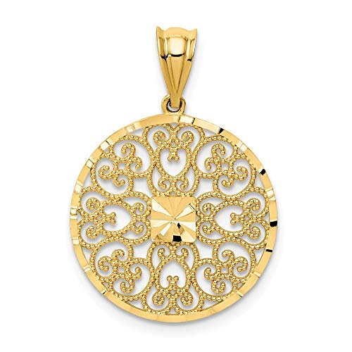 14k Yellow Gold Filigree Pendant Charm Necklace Fancy Fine Jewelry Gifts For Women For Her