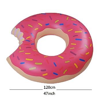 AJON Gigantesca Donut Inflables Flotadores Piscina Juguetes Flotador Anillo De Círculo Juguete De Agua De Verano Melocotón Chocolate Rosa: Amazon.es: ...