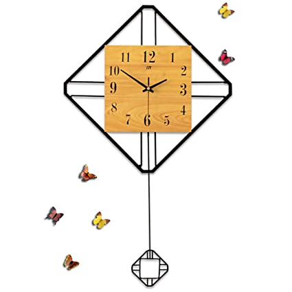 hsrg pendulum clock wooden simple swing clock modern living room bedroom  office creativity silent quartz wall