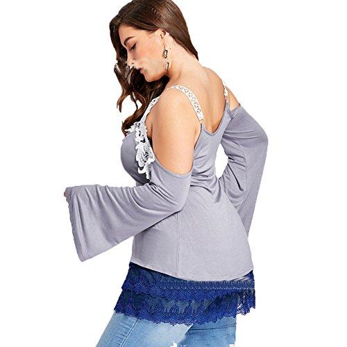 shirt T Moshow dnudes de vtements paules en col Jupe jupe de de dcontracts tops dentelle sous Bleu robe Chemise V base jupe wrxAqIXx