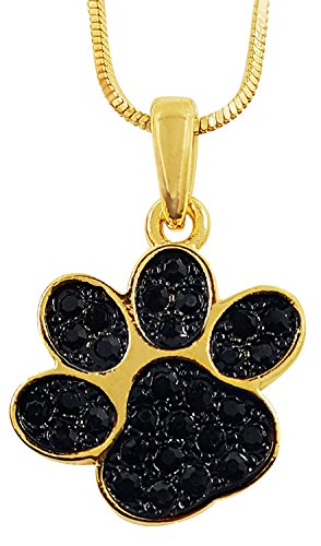 - Small Gold Tone Puppy Dog Kitten Cat Animal Black Crystal Paw Print 3/4