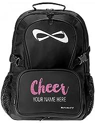 Custom Name Cheer Glitter Text: Nfinity Black Backpack Bag