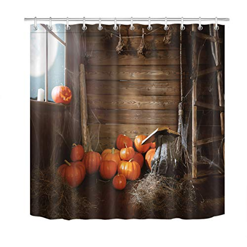 ETOB Halloween Background Shower Curtain Decor, Old Wooden Hut Witches Barn with Pumpkins Shower Curtains 72X72 inches Polyester Fabric Bathroom Decorations Bath Curtains Hooks Included -