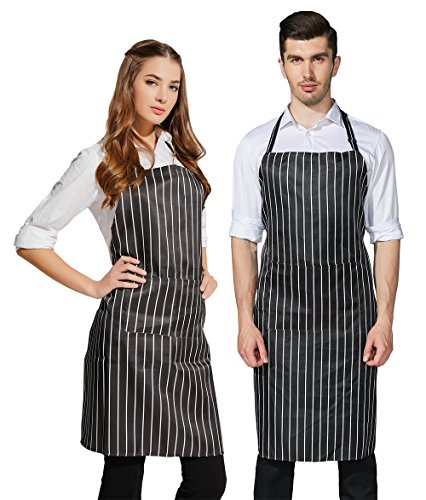 HOPESHINE 2-Pack Plus-size Aprons for Men and Women with Pockets Water Resistant Adjustable Kitchen Aprons Dish Washing Grooming Chef Aprons (Black/White Stripe X - Apron White Stripe