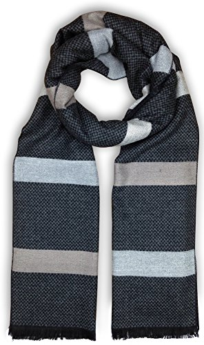 Long Striped Scarf (Bleu Nero Luxurious Winter Scarf for Men and Women – Large Selection of Unique Design Scarves – Super Soft Premium Cashmere Feel Black Grey Checked Taupe-Grey Stripes)