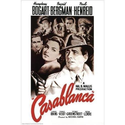 FRAMED Casablanca Bogart Bergman Henreid 36x24 Romantic Movi