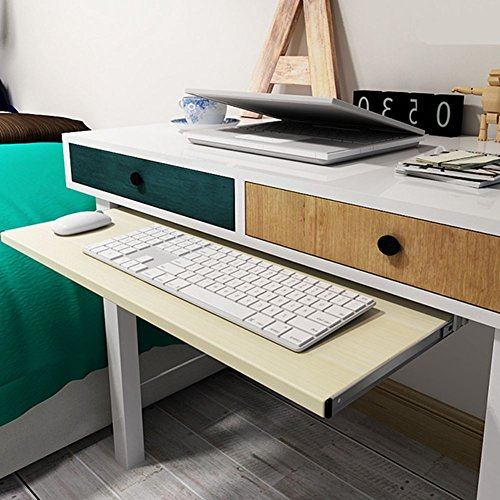 Wood Keyboard Slide (Home Garden Furniture Office Keyboard Tray Drawers Slide (White Maple))