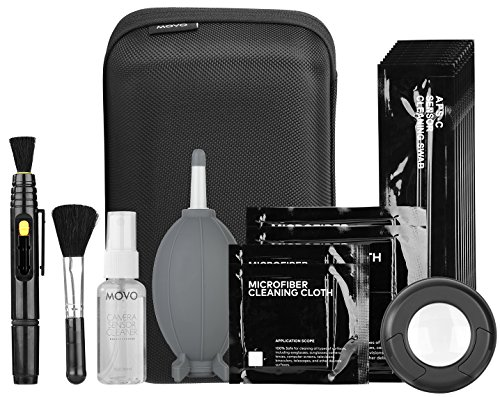 Movo Deluxe Essentials DSLR Camera Cleaning Kit PRO with LED Loupe, 10 APS-C Swabs, Sensor Cleaning Fluid, Air Blower, Lens Pen, Soft Brush, 2X Small and 2X Large Microfiber Cloth and Carrying Case ()