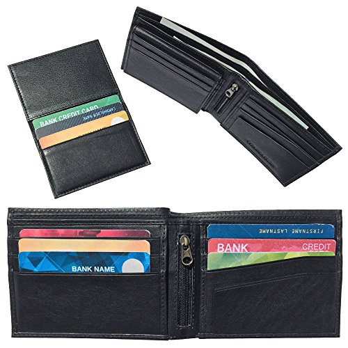 Design Black Leather (Run2Win Safety, RFID Blocking Wallet for Men, Slim Design, Genuine Leather, Great Credit Card Protection, Classic Black, Zippered Coin Pocket, Extra Capacity, 2-Window Removable Flip ID, Travel Bifold)