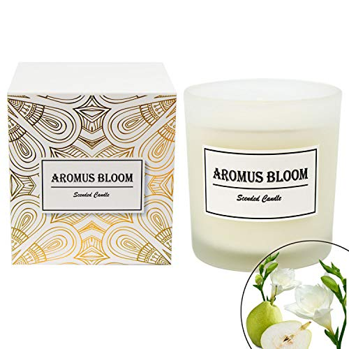 - AromusBloom Scented Candle Gift with Natural Essential Oils, 100% Eco-Friendly Soy Wax Aromatherapy Candle, Gift Candles for Women, English Pear Freesia