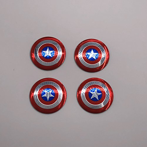 AOWIFT 4x Captain America Shield Wheel Center Hub Caps Badge Emblem Decal Sticker 56mm