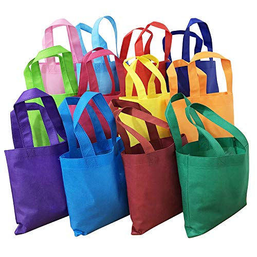 MANSHU 24PCS Party Favor Gift Bags with Handles, Non-woven Tote Bags, Eco Friendly Tote Bags, 9 by 9 Inches, 12 Colors.