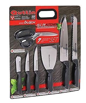 Compra Quttin 47721 Set Cuchillos, Tijera y Espátula, Negro ...